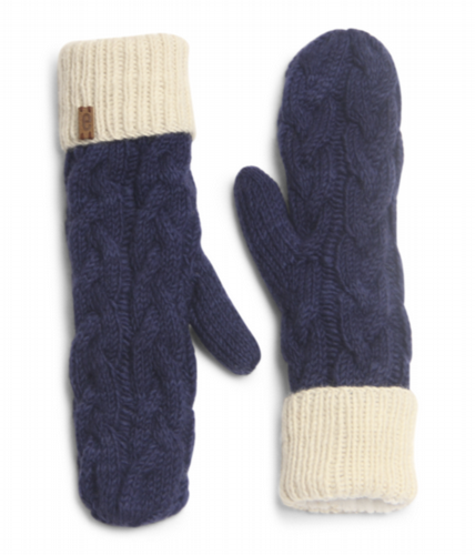 Wool Cable Knit Mittens - Royal Blue